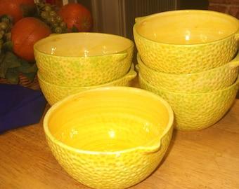 Yellow Bowls, Fruit Shaped Vintage Bowls, Lemon Shaped Vintage Fruit Bowls, Bright Patio Bowls, Patio Dishes