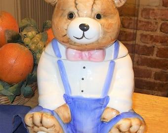 Teddy Bear Cookie Jar, Vintage Cookie Jar, Antique Bear Cookie Jar, Ceramic Bear Cookie Jar