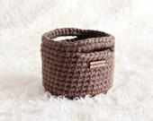 MINI BASKET | taupe light brown basket with handles, home decor, small storage solution, crochet basket, shelf decoration,nursery storage