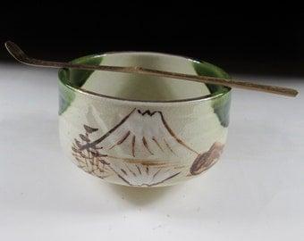 Oribe-ware Mt Fuji Chawan Tea Bowl, Koedo