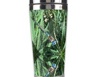 Metal Travel Mug, Super Goo Blue Marijuana Print Coffee Mug, Travel Mug Coffee, Hot Coffee Mugs, Travel Mugs with Lids, Travel Mug for Women