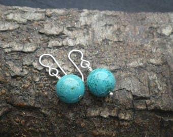 Sterling Silver Drop Faux Turquoise Ball Earrings