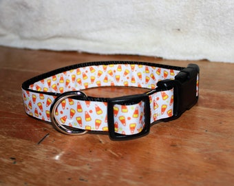 1 inch wide CANDYCORN Plastic Buckle Collars - PERSONALIZED