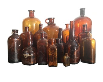 Antique BIM Amber Glass Cork Top Bottle Collection (18 Bottles Total) Mid to Late 19th Century to Early 20th Century