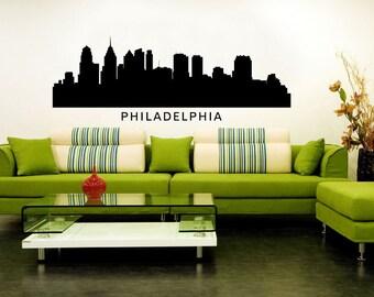 Philadelphia City Skyline Cityscape Silhouette Vinyl Wall Art Decal Sticker Graphic