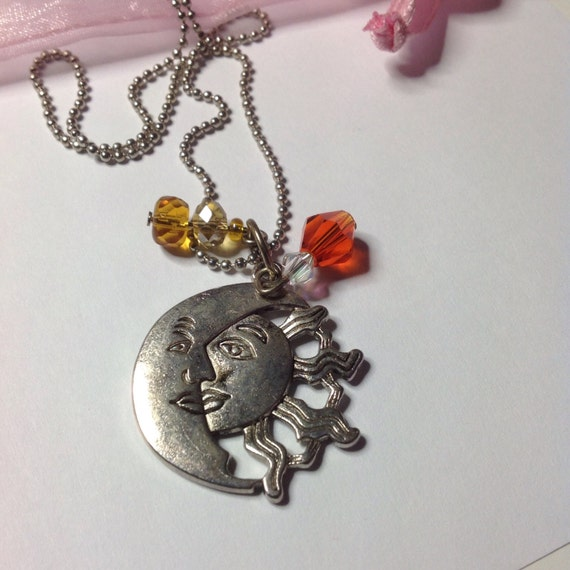 sun and moon necklace boho necklace sun and moon jewelry