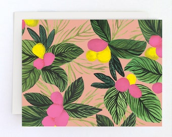 Tropical Flowers Blank Card