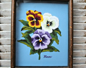 Vintage Embroidery flowers picture. Handmade. 1981.