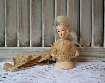 Vintage! Half doll. Pin cushion half doll.