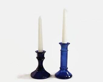Cobalt Blue Vintage Glass Candlestick Holders