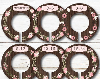 Floral Closet Dividers, Vintage Closet Dividers, Closet Organizers, Baby closet dividers, Baby shower gift, Girl Clothes dividers,  C198