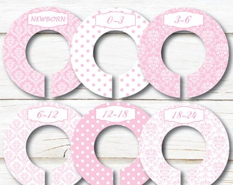 Baby Closet Dividers, Closet Organizers, Girl closet dividers, Baby shower gift, Pink damask, Kids Clothes divider, Pink nursery C209