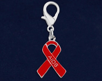 AIDS Awareness Red Ribbon Hanging Charm in a Bag (1 Charm - Retail) (RE-HC-29-6AI)