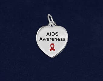 10 AIDS Awareness Heart Charms (10 Charms) (HRTC-02-6AI)
