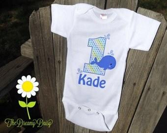 Personalized Whale Birthday Bodysuit - Whale Infant Creeper - Birthday Personalized Bodysuit or T-Shirt - Custom Baby Boy Birthday Outfit