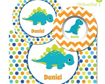 Personalized Plate, Bowl & Placemat - Dinosaur Plate - Dino Dinnerware for Boys - Custom Kids' Tableware with Dino