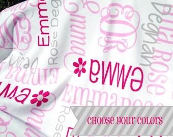 Personalized Baby Blanket - Monogrammed Receiving Blanket for Girls - Custom Name Baby Blanket - Newborn Swaddle Blanket - Baby Photo Prop