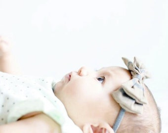 Newborn Headband / Toddler Headband / Baby / Tan and Grey Stripe Double Bow / Nylon Headband / One size fits most / stretchy headband
