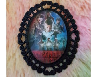 Stranger Things TV Show Glass Cabochon Black Brooch Pin Millie Brown Winona Ryder Handmade NEW