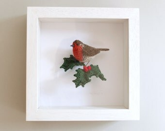 Robin on holly - realistic crochet sculpture box frame picture