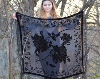 Black Velvet Shawl, Devore scarf,  Evening Scarf, Shoulder Wrap, Womens Gift, gothic Shawl, plush scarf, Square Silk Scarf, baroque scarf