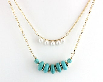 """Two Gold Chain Pearl And Turquoise Necklace 18"""" and 20""""."""