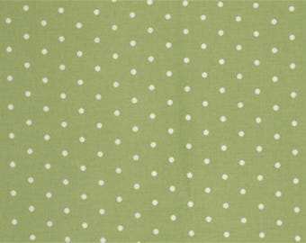 Free Spirit Fabrics, Tanya Whelan, Barefoot Roses Legacy Collection Dots Green and White