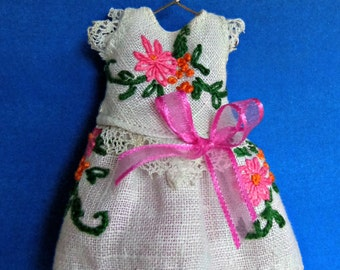 """Blythe or Pullip Doll  OOAK -""""Pink Posies""""  vintage hand embroidered linen with delicate edgings"""