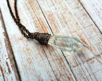 Vintage crystal point in brass or silver-vintage crystal point necklace-vintage crystal-handmade-crystal necklaces-vintage crystal point