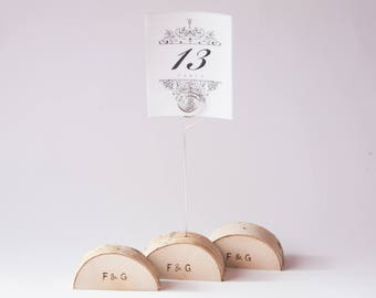 5 rustic wedding table number holder with wire, place card holder, birch wedding table decor,  wedding centerpiece