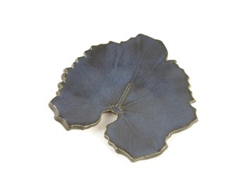 Varigated Blue Hollylock Leaf - pottery - dark blue - ring dish - spoon rest - nature inspired - nature made