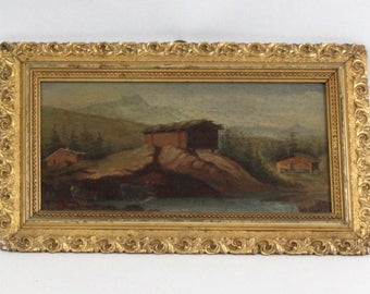 Vintage Folk Art Landscape Paintings On Board Ornate Gold Painted Frames Pair