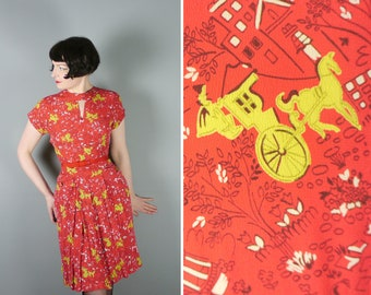 40s red NOVELTY dress with KEYHOLE neckline and black and CHARTREUSE print with - 1940s art deco rayon dress - xs / uk6