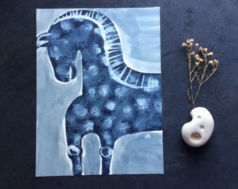 ORIGINAL HORSE PAINTING acryl on paper (free shipping)