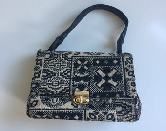 Vintage Carpet Bag Handbag Purse Sixties Bohemian