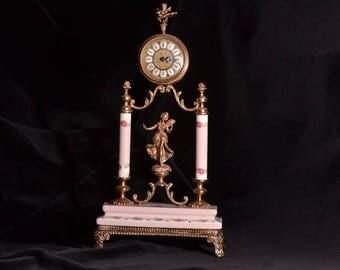 Porcelain And Gilt Vintage Mantel Clock (948s)