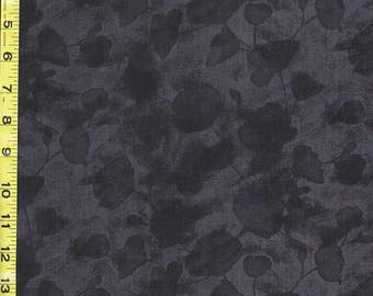 Japanese Asian Sewing Quilting  Fabric - Poppy Celebration - Tonal Floating Poppies - Black