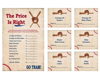 Baseball Price Is Right, Baby Price Is Right Game, Vintage Baseball Baby Shower Price, Printable Baseball Baby Game - Printables 4 Less 0004
