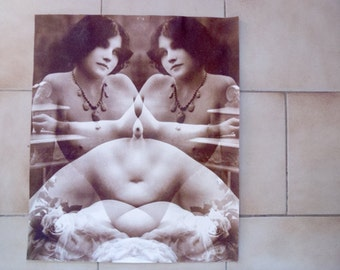 Mature erotic photography Vintage French surrealist photograph signed H Sequy circa 1976