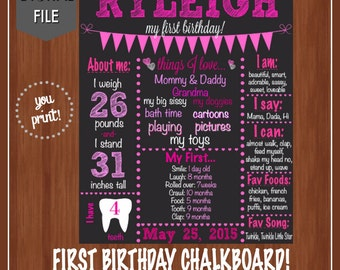 Pink First Birthday Chalkboard - Chalkboard Poster - Pink - First Birthday - One - Pink Chalkboard - Pink Birthday Party - 1st Birthday
