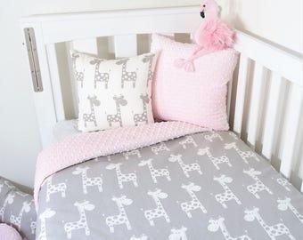 Grey and pink, giraffe nursery items