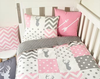 Patchwork quilt nursery set - Pink and grey deer, spots and chevron (grey minky quilt backing)