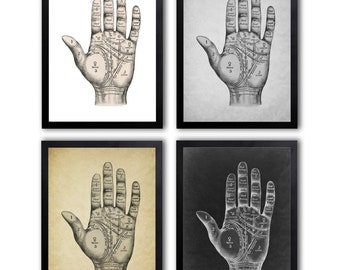 4 Colors Background, Palmistry Hand Print, Fortune Telling, Palm Reading, Palm Readers, Chiromancy Print *10*