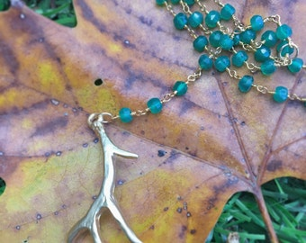 SEQUOIA //  Petite Gold Antler on a Green Onyx Rosary Necklace