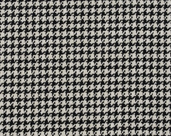 Black and Off-White Classic Houndstooth Jacquard Upholstery Fabric By The Yard | Pattern # E854