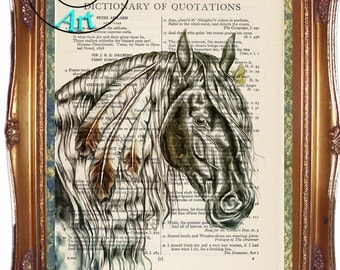 Black War Pony Critter Graphics & Simplify Drawing Art Vintage Dictionary Page Art Print Upcycled Page Print