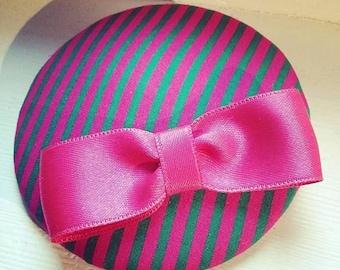 pink & green striped headpiece