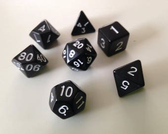 Black Polyhedral Dice Set