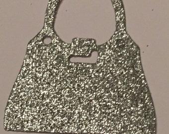 12 die cut handbags - silver glitter