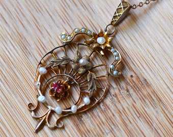 Antique Victorian Ruby and Pearl Lavaliere - 1880s Ruby Filigree Pendant - Seed Pearl and Ruby Victorian Pendant - Vintage Ruby Necklace